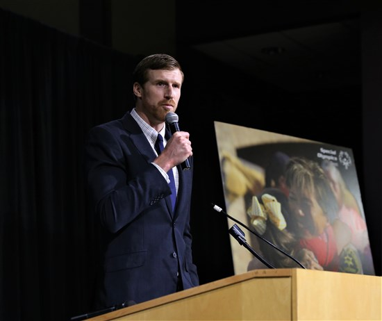 Matt Bonner, former Spurs player and current Fox Sports Southwest Broadcaster Bonner was the emcee for the breakfast
